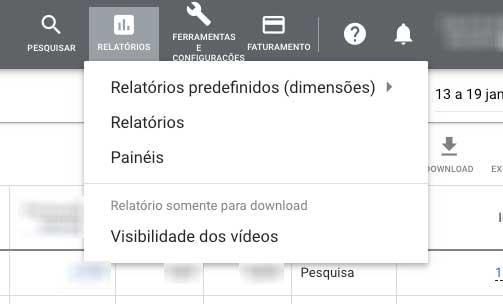 Subitens de Relatórios no menu superior do Google Ads
