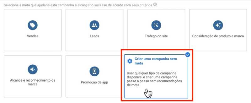 Campanha sem meta no Google Ads