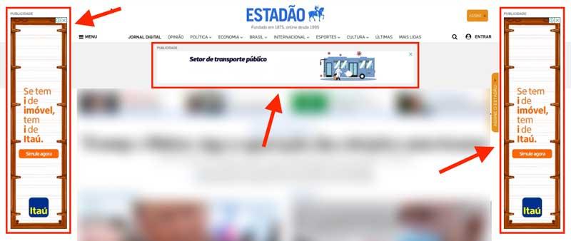 Anúncios de display em site de notícias