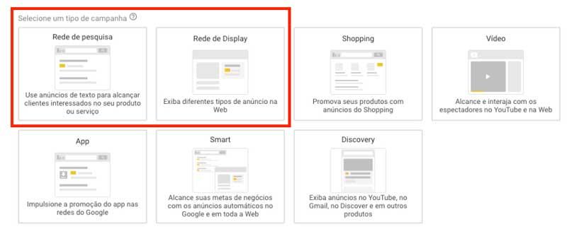 Campanhas da rede de pesquisa e da rede de display no google ads
