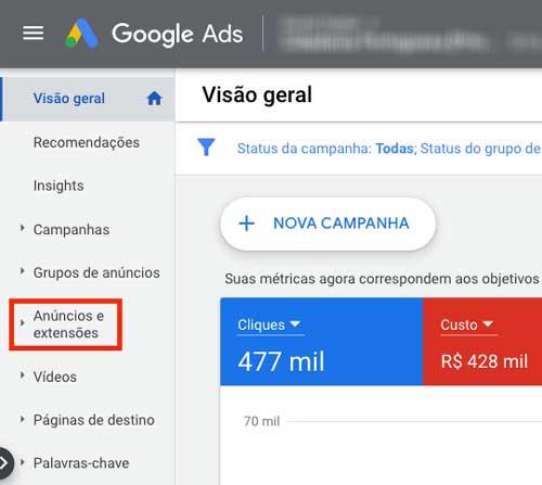 """Opção """"anúncios e extensões"""" no menu da esquerda no Google Ads"""