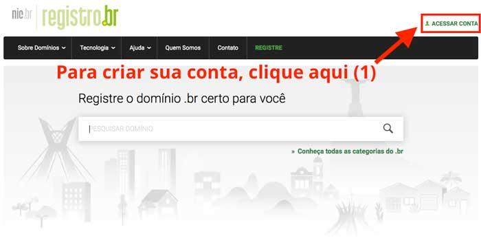 Criar conta no Registro.br
