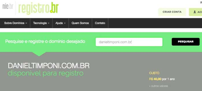 Registro.br: domínio disponível para registro