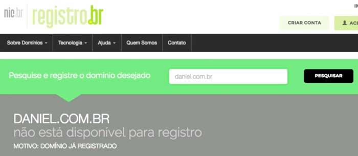 Registro.br: domínio não disponível para registro