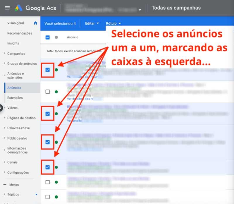 Como editar anúncios de texto em massa no google ads