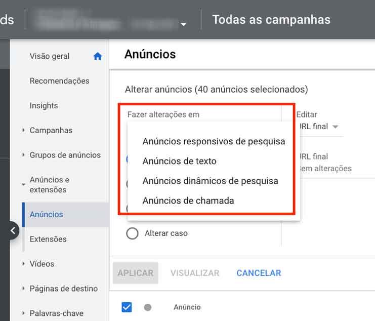 Opções de tipos de anúncios para edição em massa no Google Ads